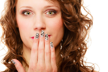 pretty woman happy smile cover her mouth by hand palm