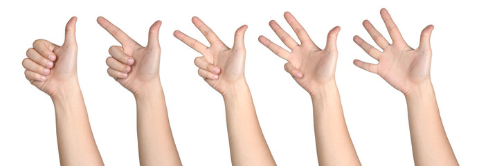 hand sign posture number 1-5 isolated