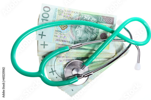 cost of health care: stethoscope on polish money
