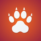 Shiny Plastic Trace of Dog on Orange Background