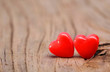 Hearts on Wooden Texture. Valentines Day background. Macro.