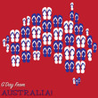 Australian map made of thongs (flip flops) in vector format.