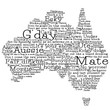 Australia map made from Australian slang words in vector format.