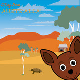 Australian outback scene greeting card in vector format.