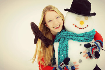 Woman and Snowman Outside in Winter VIntage Color