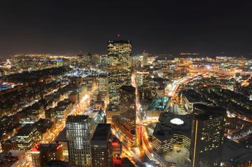 Boston John Hancock Tower and Back Bay Skyline at night