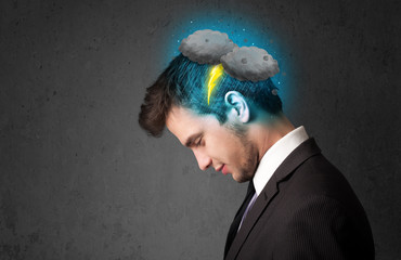 Man with thunderstorm lightning head