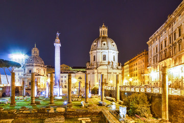 The Roman Forum at night. Rome, Italy