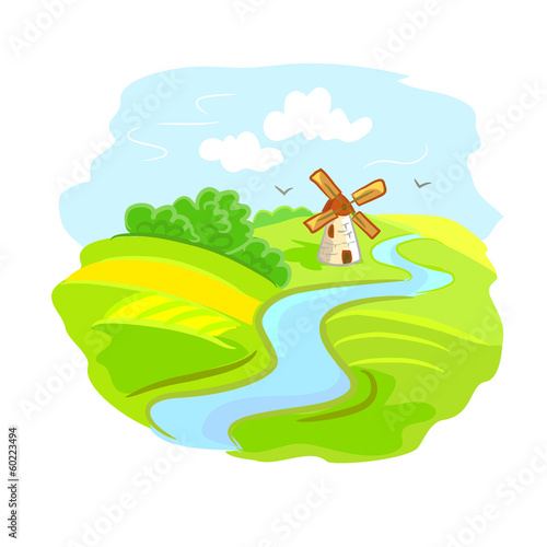 rural landscape with mill