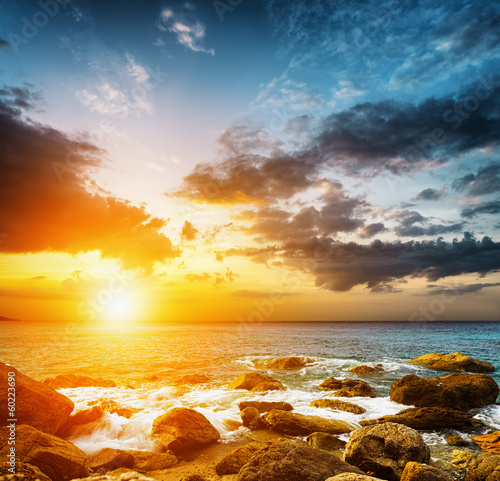 Amazing sky over the sea. Sunset landscape