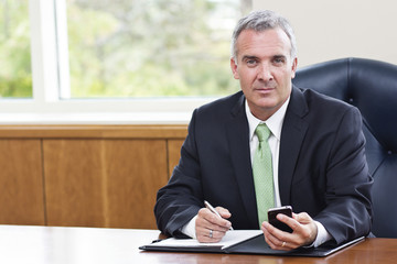 Mature Businessman working in his office