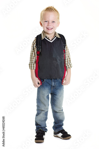 Cute Elementary School Boy Isolated on white background