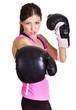 Beautiful woman ready to box