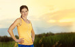 Female runner ready to run outdoors. Fresh start