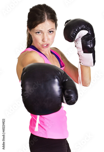 Beautiful woman ready to box