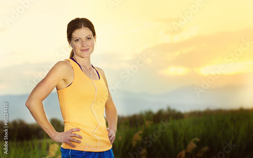 Female runner ready to run outdoors. Fresh start