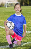 Cute little Soccer player portrait (girl)