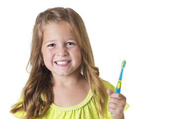 Cute Little Girl Brushing her teeth isolated on white