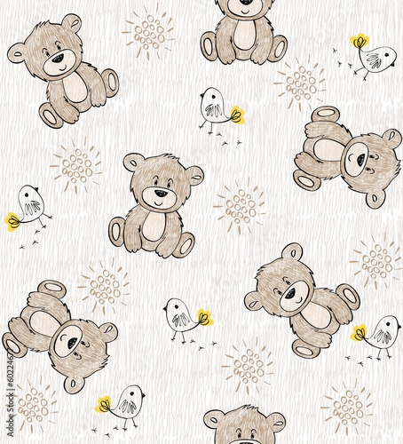 Tapeta Cute hand draw seamless pattern for kids.