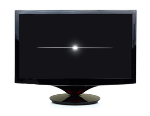 3D black tv display turned off isolated on white