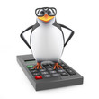 Academic penguin stands on a calculator
