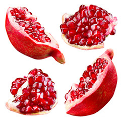 Pomegranate. Collection isolated on white background