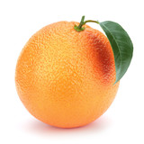 Ripe orange with leaf.