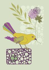 Bird Holding a Flower