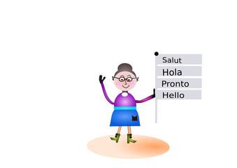 Frau hält Schild in verschiedenen Sprachen