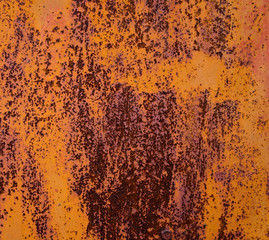 old sheet metal covered with rust and damaged paint