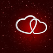 Hearts on star background