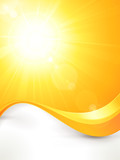 Vibrant hot vector summer sun with lens flare and wave pattern