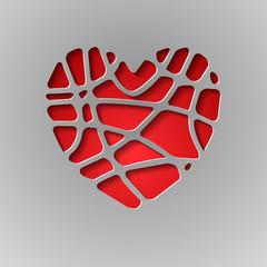 бумажное сердце на сером фоне