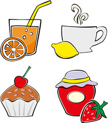 Set of simple food and drink illustrations