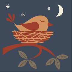 Illustration of cute bird sleeping in a nest.
