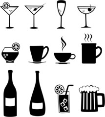 Set of vector icons of various beverages.