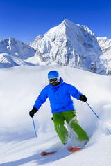 Ski, Freeride in fresh snow - man skiing downhill