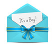 Baby shower card in blue envelope