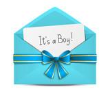 Baby shower card in blue envelope