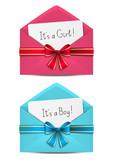 Baby shower cards in envelopes