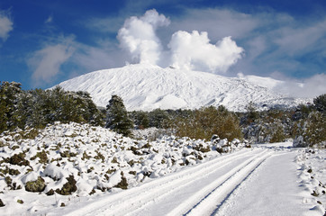 Snow Covered Etna And Road, Sicily
