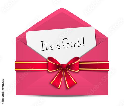 Baby shower card in pink envelope