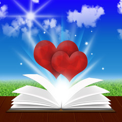 Open Book with two red hearts
