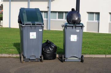 poubelles sur le trottoir, en ville