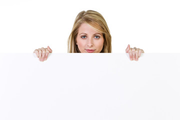 woman with a sign
