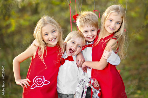 children with decor style Valentine's Day