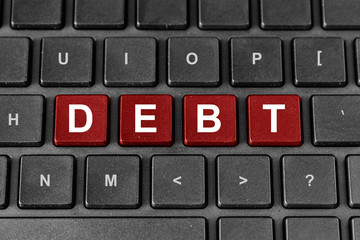 Debt word on keyboard