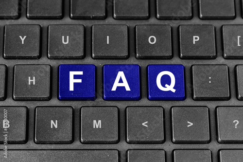 FAQ or Frequently asked questions word on keyboard