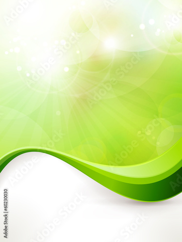Abstract green vector background with wave pattern