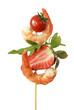 Gamba Spiess mit Ruccola Erdbeere und Tomate